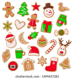 Christmas and xmas design of cookies isolated icons set raster. Snowman and Santa Claus character, gingerbread man and mistletoe. Deer and candy