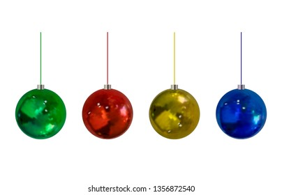 Christmass 3D Balls Set, Isolated on White Background Realistic Holiday Decorations.