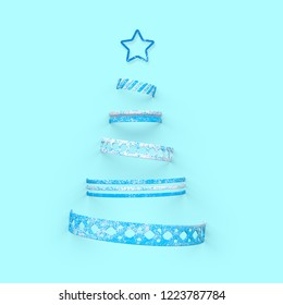 Christmass tree on blue background. 3d illustration