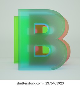 Chromatic Aberration Letter B transparent  font isolated on white background. - Illustration 3d Rendering
