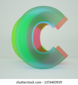 Chromatic Aberration Letter C transparent  font isolated on white background. - Illustration 3d Rendering
