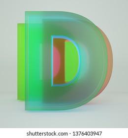 Chromatic Aberration Letter D transparent  font isolated on white background. - Illustration 3d Rendering