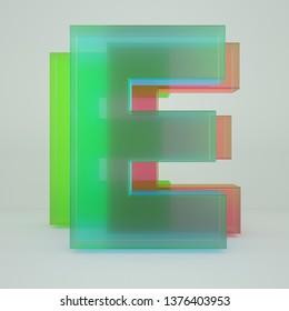 Chromatic Aberration Letter E transparent  font isolated on white background. - Illustration 3d Rendering
