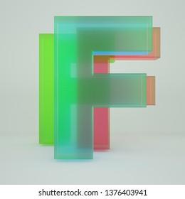 Chromatic Aberration Letter F transparent  font isolated on white background. - Illustration 3d Rendering