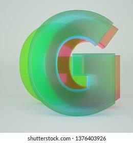 Chromatic Aberration Letter G transparent  font isolated on white background. - Illustration 3d Rendering