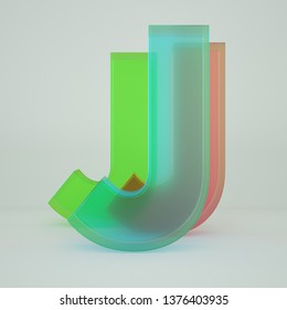 Chromatic Aberration Letter J transparent  font isolated on white background. - Illustration 3d Rendering