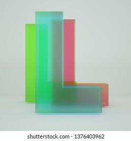 Chromatic Aberration Letter L transparent  font isolated on white background. - Illustration 3d Rendering
