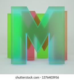 Chromatic Aberration Letter M transparent  font isolated on white background. - Illustration 3d Rendering