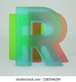 Chromatic Aberration Letter R transparent font isolated on white background. - Illustration 3d Rendering