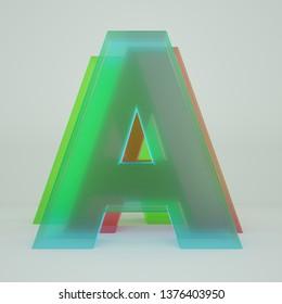 Chromatic Aberration Letter A transparent  font isolated on white background. - Illustration 3d Rendering
