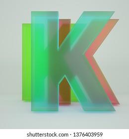 Chromatic Aberration LetterK   transparent  font isolated on white background. - Illustration 3d Rendering