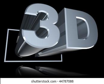 Chrome 3D pushes through angled 16x9 frame above reflective black floor.