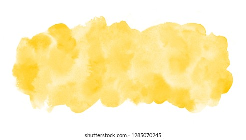 Chrome, amber yellow watercolor rectangle background, frame. Long, elongated watercolour shape with stains. Painted template for banners. Hand drawn abstract aquarelle fill, texture. Rounded edge.