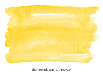 Chrome, amber yellow watercolor rectangle artistic background, text frame template. Horizontal big brush stroke, smear watercolour shape with stains. Painted hand drawn aquarelle uneven edge texture.