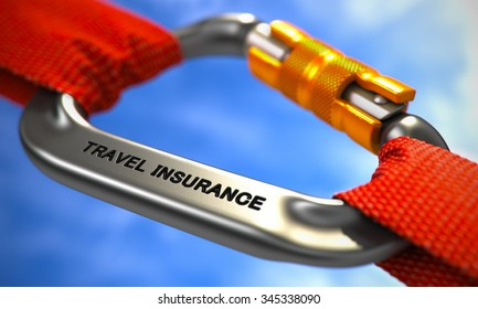 Chrome Carabine with Red Ropes on Sky Background, Symbolizing the Travel Insurance. Selective Focus.