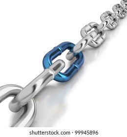 Chrome chain with a blue link on white background