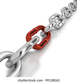 Chrome chain with a red link on white background