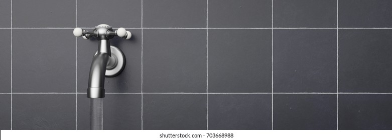 Chrome faucet mounted on wall  with slate tiles 3d rendering