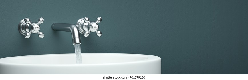 chrome faucet with washing basin and green wall as panorama 3d rendering