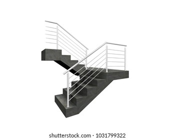 chrome fence, stainless steel fence, inox fence, aluminium fence on staircase 3D illustration on isolated white background