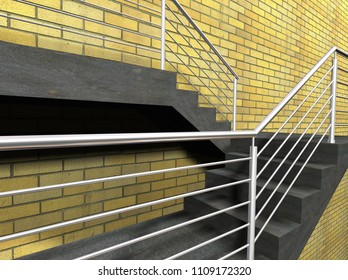 chrome fence, stainless steel fence, inox fence, aluminium fence on staircase 3D illustration