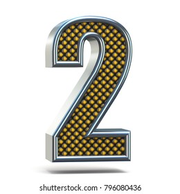 Chrome metal orange dotted font Number TWO 2 3D render illustration isolated on white background