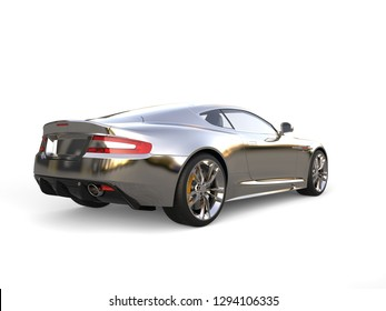 Chrome plated modern luxury sports car - tail view - 3D Illustration