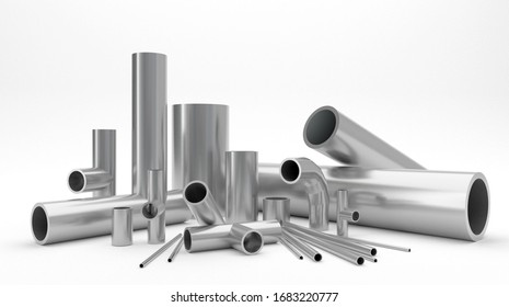 Chrome set of the water or gas pipes assortiment on white background 3d rendering. Collection of water tube construction and metal industrial.