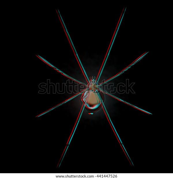 Chrome Spider 3d Illustration Anaglyph View Stock