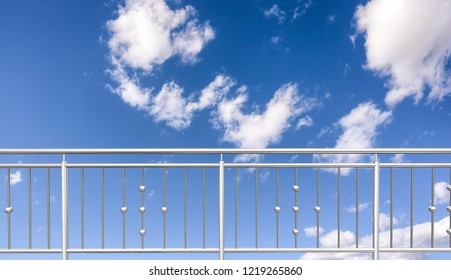 chrome, stainless steel , inox  or alu fence. aluminum fence with clouds sky background. 3D illustration