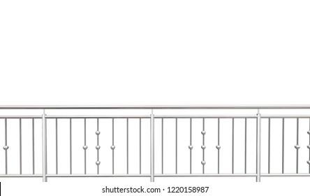 chrome, stainless steel, inox fence or alu fence. aluminum fence on isolated white background. 3D illustration