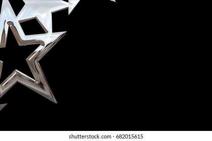 Chrome stars on black background