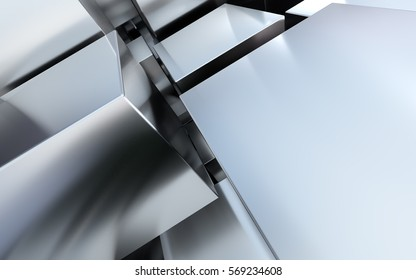 Chrome, steel or aluminum background with cubes. 3D abstract industrial illustration.