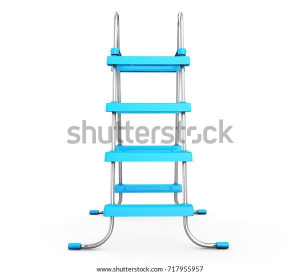 Chrome Swimming Pool Ladders On White Stock Illustration ...