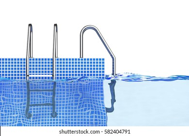 Chrome Swimming Pool Ladders in Water on a white background. 3d Rendering.