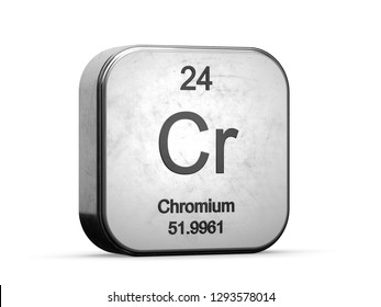 Chromium element from the periodic table series icons. Metallic icon 3D rendered on white background