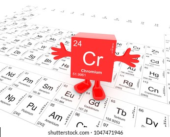 Chromium element symbol up on white periodic table - happy red cube with hands up 3D render