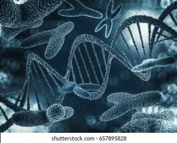 Chromosomes, gene mutation, genetic code. 3D rendering