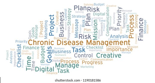 Chronic Disease Management word cloud, made with text only.