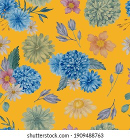 Chrysanthemum floral seamless pattern. Watercolor blue and white flowers on yellow background repeatable pattern.