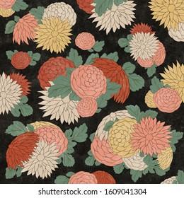 Chrysanthemum flowers in Japanese woodblock print style