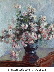 Chrysanthemums, by Claude Monet, 1882, French impressionist painting, oil on canvas. Monets twenty floral still lifes painted between 1878 and 1883, received critical and commercial success