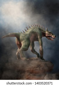 The Chupacabra, or goat sucker, is a cryptid, a legendary creature of folklore that attacks livestock. Here the monster stands on rocks in the fog. 3D rendering.