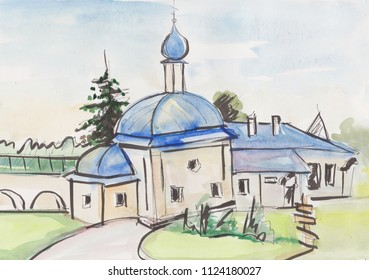 Church in a female monastery in ancient russian town