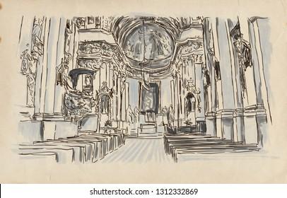 Church interior. An hand drawn illustration. Digital drawing.