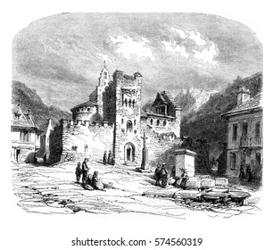 Church of the Knights Templar was Luz, vintage engraved illustration. Magasin Pittoresque 1852.
