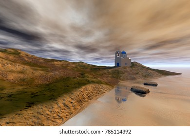 Church on the rock, 3D rendering,, an island landscape, reflection on water on a rocky beach and a cloudy sky.