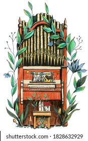 A church organ with flowers, leaves and houses. Hand drawn colored pencils illustraion.