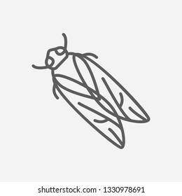 Cicada icon line symbol. Isolated  illustration of  icon sign concept for your web site mobile app logo UI design.