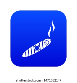 Cigar icon digital blue for any design isolated on white illustration
